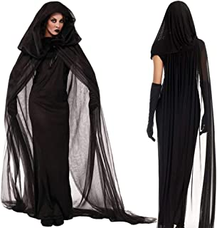 Witch Costume for Women Sorceress Dress with Wicked Witch Hat Sexy Halloween Costumes, Night Wandering Soul Nightclub Carn...