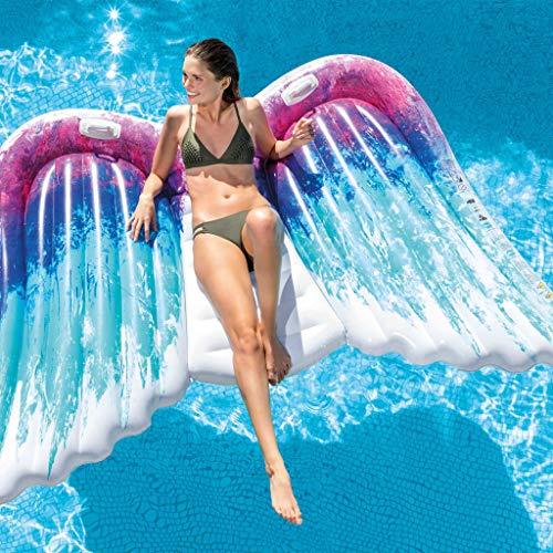 FESTNIGHT Flotador Piscina Centro de Juegos Hinchable Angel Wings Mat 251 x 160 cm