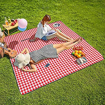 "Three Donkeys Machine Washable Extra Large Picnic & Beach Blanket Handy Mat Plus Thick Dual Layers Sandproof Waterproof Padding Portable for the Family, Friends, Kids, 79""x79"" (Red and white)"