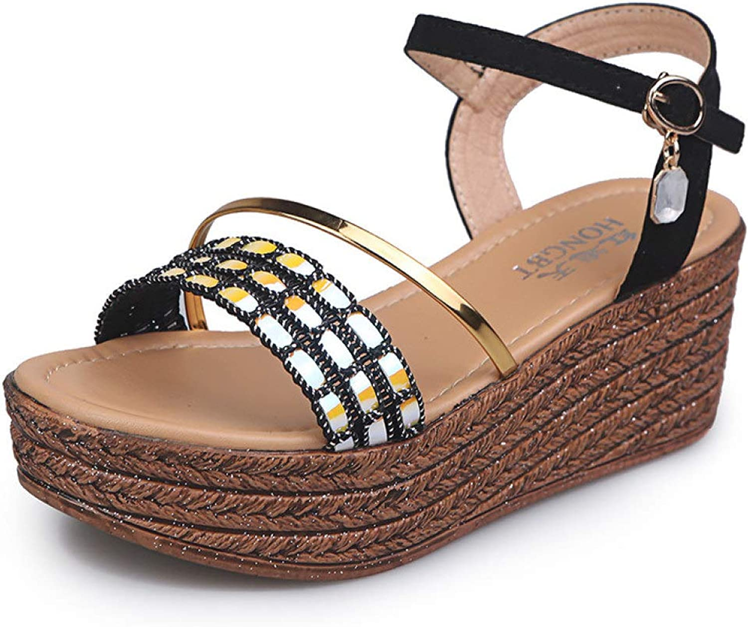 T-JULY Women Sandals Ankle Strap Casual Platform Wedges High Heel Footwear Mixed colors Bling Woman Summer Slingback shoes