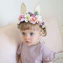 Nicute Boho Beige Flower Headpieces Rabbit Ears Hair Wreath Princess Floral Garland for Women and Girls