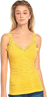Women's Stylish Wrinkled Scoop Neck Lace Straps Cami Tank Top