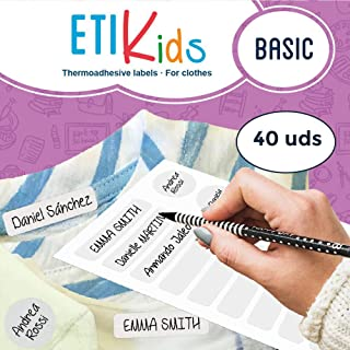 ETIKIDS 40 Clothing Labels for School and The Nursery School. Writable Fabric Labels (Basic)