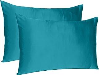 Oussum Satin 300 TC Pillow Cover, Standard - 20 x 26 Inch, Corsair Blue