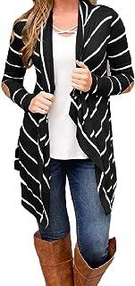 SayahWomen Pinstripe Stitch Open Front Weekend Asymmetric Hem Top Shirts