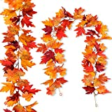 【Package】: 2 pcs artificial maple garland & 4 hanging hooks 【Size】: Fall garland approx. 5.7ft long; Leaves vary from 3.2 ~ 4.4 inches 【Material】: The fake leaves are made of silk cloth, durable and vivid. The garland stems are made of flexible wire ...