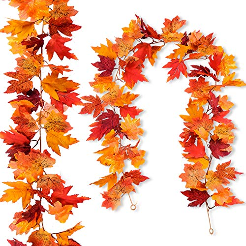 2Pcs Artificial Autumn Fall Maple Leaves Garlands 5.9 Feet Hanging Vines  Fall Foliage Garland for Indoor Outdoor Wedding Thanksgiving Dinner Party Decor