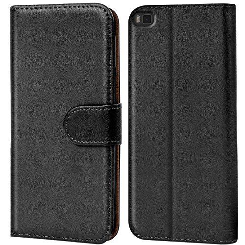 Verco Handyhülle für P8 Hülle, Schutzhülle für Huawei P8 Tasche PU Leder Flip Hülle Brieftasche - Schwarz