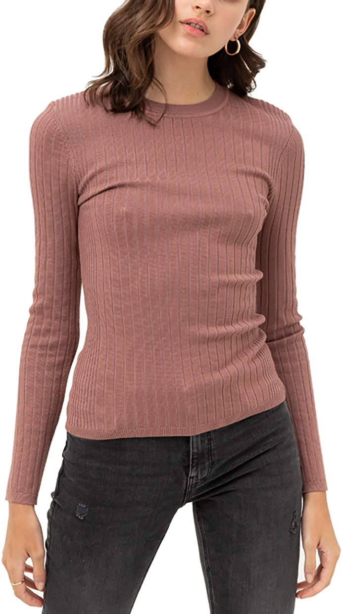 theSimple Women's Pullover Slim Fit Ribbed Long Sleeve Sweater