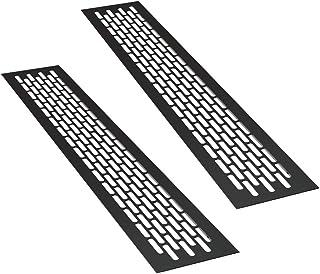 sossai® ventilationsgaller i aluminium - Alucratis (2 stycke)   Rektangulär - mått: 48 x 8 cm   Färg: Svart   Pulverlackerad