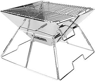 CARBABY バーベキューコンロ 焚き火台 アウトドアコンロ 折りたたみ BBQコンロ 1台2役 2-4人用 ステンレス鋼 サイズ:31CM*31CM*20CM