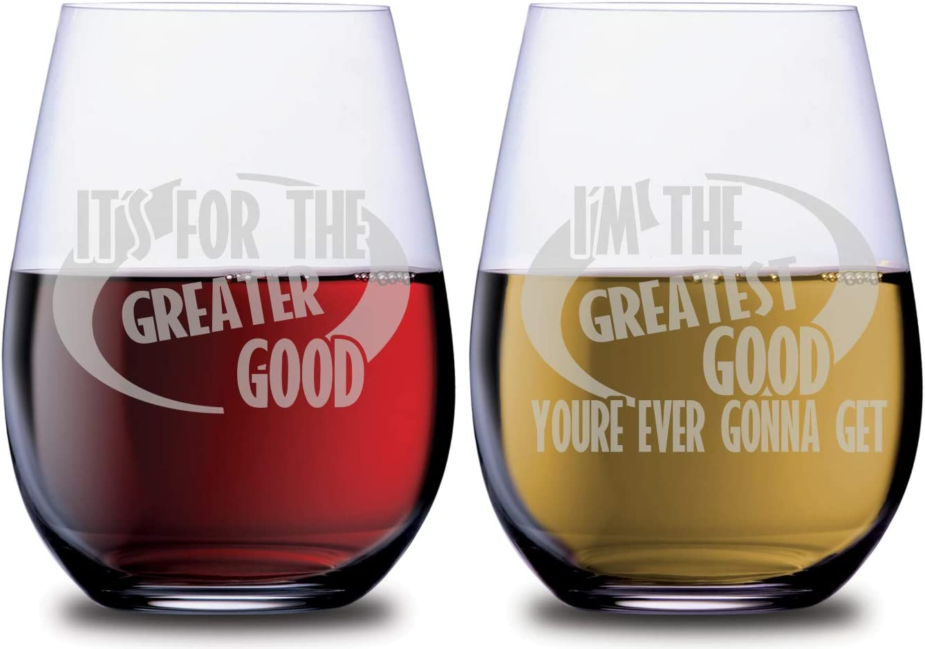 SMOOCHIES Incredible Superhero Very popular Funny Max 47% OFF 2pc Set Wine Glass Stemless