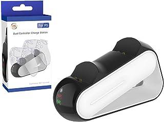 JINQII Estação de Recarga para PS5, Carregador Duplo Rápido com Indicadores LED para o Controlador sem fio PS5 Estação de ...