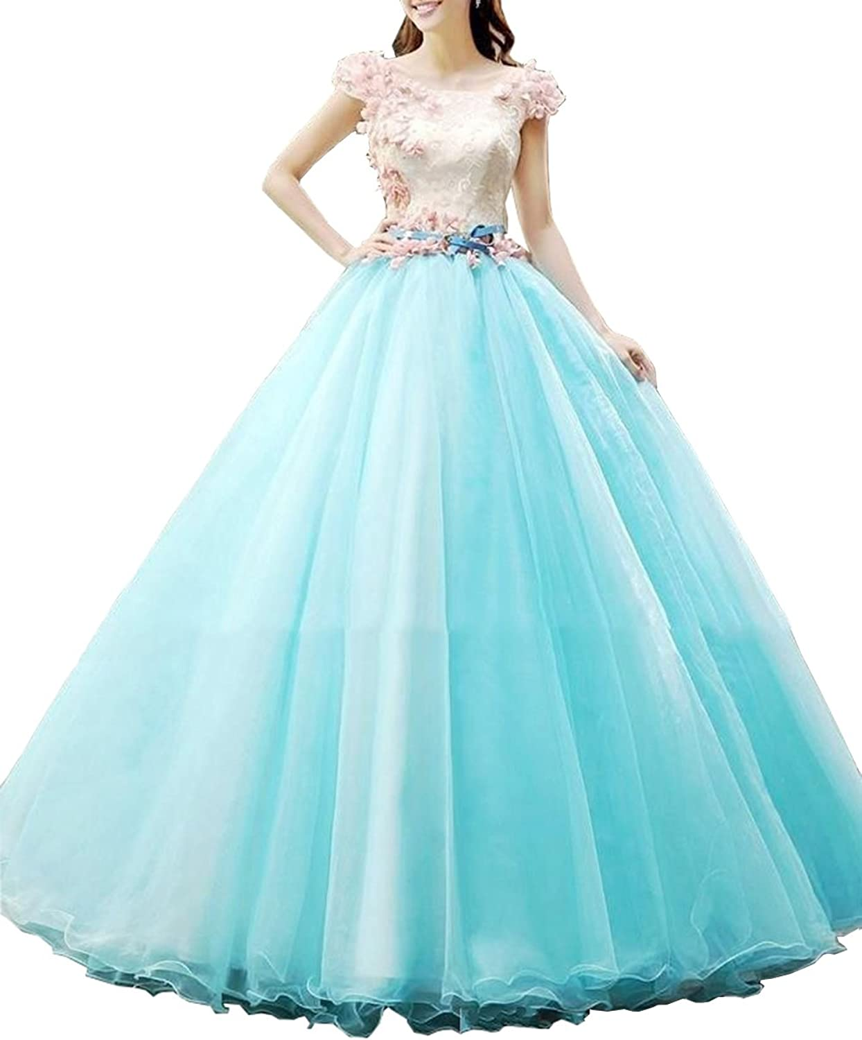 Datangep Women's Cap Sleeve with Flower Zipper Back Ball Tulle Quinceanera Dress