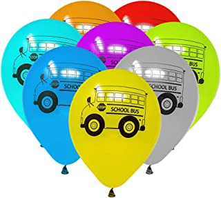 School Bus Balloons, School Bus Supplies, Kids Birthday Latex Balloons, Party Favors (24 Pieces)