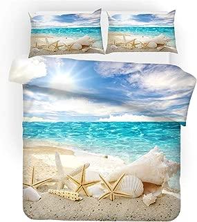 REALIN Beach Shell Theme Bedding 3D Duvet Cover Set Sea Sunlight Pineapple Bed Sets 2/3/4PCS Quilt Covers/Sheets/Pillow Shams,Twin/Full/Queen/King (Twin-172x218cm-3PCS,G)