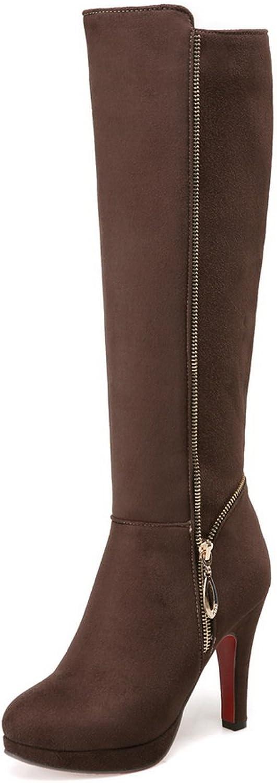 AdeeSu Womens Comfort Spikes Stilettos Round-Toe Fashion Dress Urethane Boots SXC01748