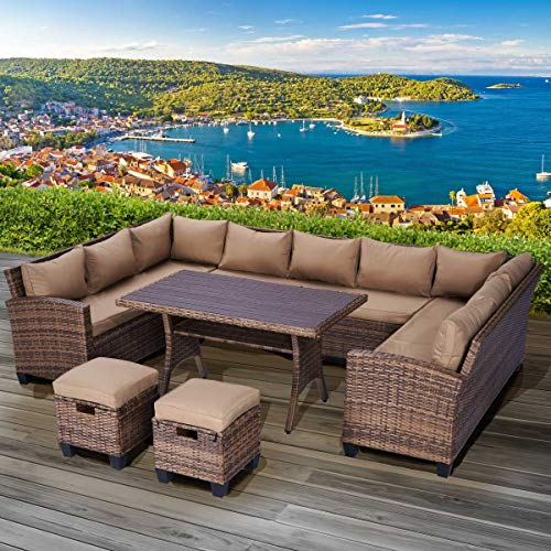 BRAST Poly-Rattan Sitzgarnitur Sofa Essgruppen-Kombi Family 11 Personen Braun/Cappuccino Garten Lounge Sitzgruppe Gartenmöbel