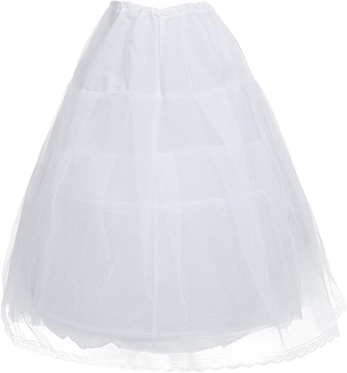 TiaoBug Kids Girls Vintage Rockabilly 2 Hoop Crinoline Hoopless Petticoat Full Slip Flower Tutu Dress 1950s Underskirt