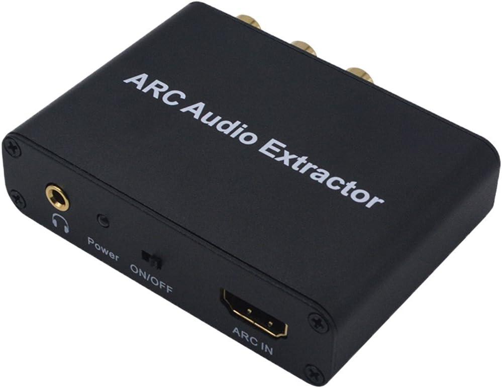 D DOLITY ARC Audio Extractor Adaptador Toslink/Coaxial/3,5mm L/R Stereo Salida Audio convertidor Corriente con Cable de Datos USB