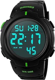 b3fb918875 SKMEI 腕時計 メンズ 大きい文字盤 スポーツ 5気圧防水 デジタル表示 LEDライト 日付 曜日