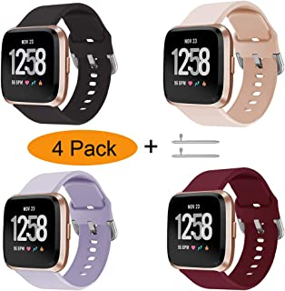 Xilaiw 4 Packs Bands Compatible with Fitbit Versa/Versa2/Versa Lite for Women and Men,  Soft Replacement Wristband Waterproof Sport Strap for Fitbit Versa Smart Watch
