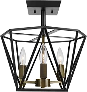 Globe Electric 65979 Sansa 3-Light Semi-Flush Mount Ceiling Light, Dark Bronze Finish, Antique Brass Accents