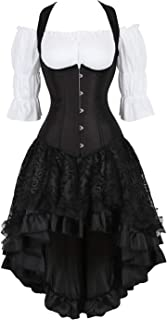 Steampunk Corset Dress for Women Off Shoulder Blouse Corset Top with Gothic Skirt 3 Piece Outfits