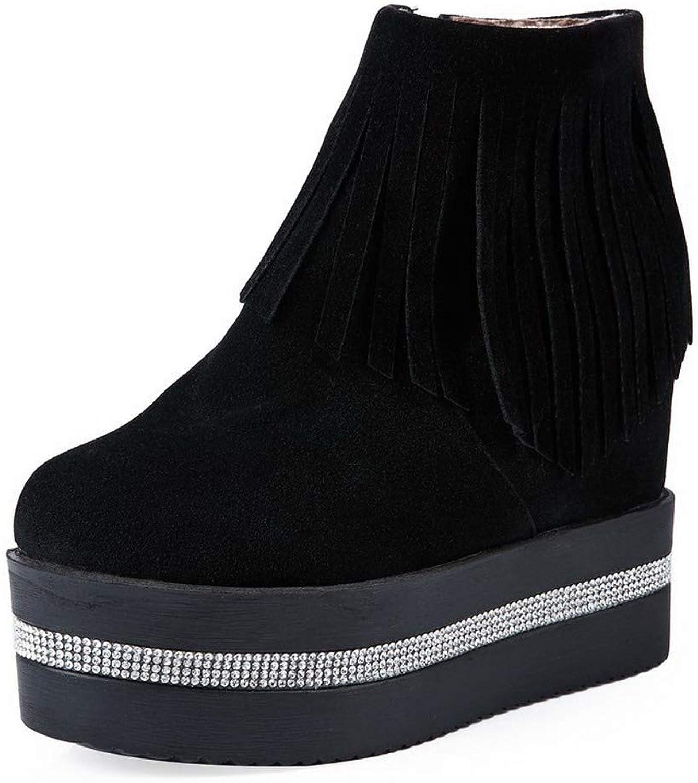 AllhqFashion Women's Round-Toe High-Heels Xi Shi Velvet Low-Top Solid Boots, FBUXD025309