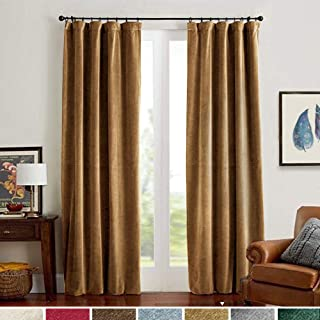 Velvet Curtains Gold Taupe Room Darkening Thermal Insulated Super Soft Luxury Drapes for Bedroom Rod Pocket Window Curtain for Living Room 2 Panels 52 by 108 Inch