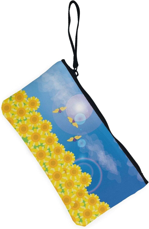 AORRUAM Sunflower butterfly meadow Canvas Coin Purse,Canvas Zipper Pencil Cases,Canvas Change Purse Pouch Mini Wallet Coin Bag