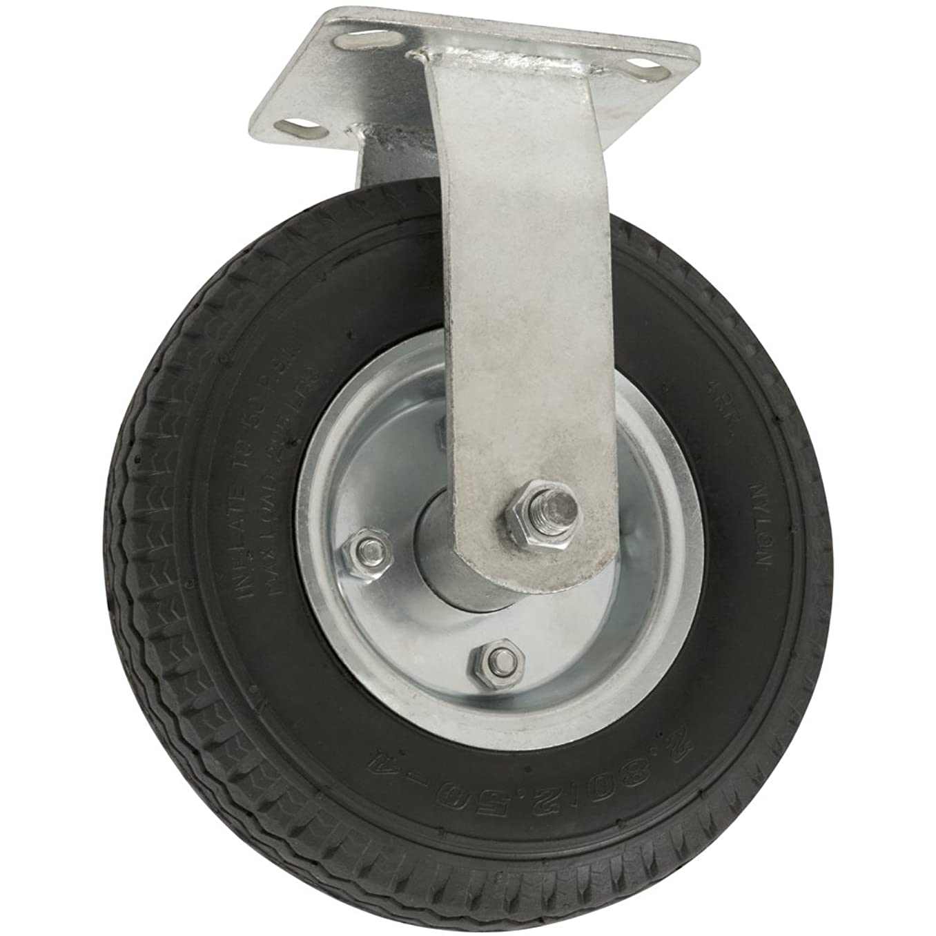 Pneumatic Caster Wheel with Rigid Non-Swivel Top Plate  - 8-Inch -  310 lb. Load Capacity  - Air-Filled Wheel Provides a Cushioned Ride & Shock Absorption Best Suited for Outdoor Use