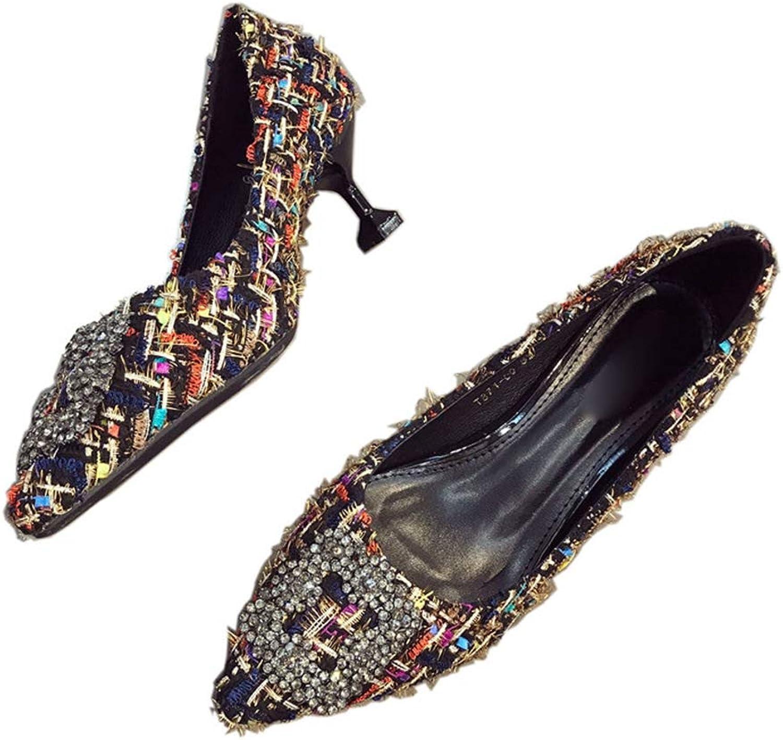 August Jim Women's Flat shoes Fashion Pointed Toe Office Low Heel Slip-On Women Pumps