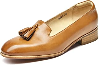 Beau Today Women's Soft Leather Slip Ons Loafers Stylish Tassel Flats