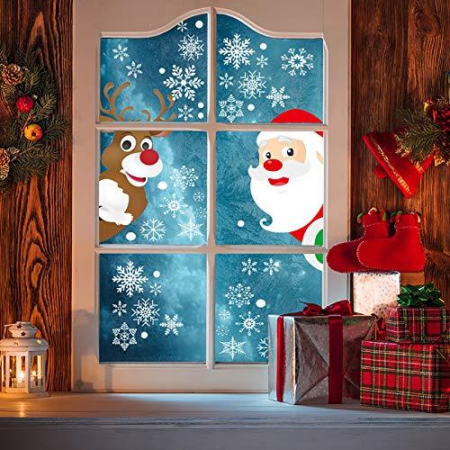 LATTCURE Schneeflocken Fensterdeko Fensterbilder für Weihnachten Winter Dekoration Türen Schaufenster Vitrinen Glasfronten Fensteraufkleber Spähen des Weihnachtsmanns Weihnachtselche(8 Blätter)