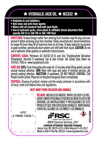 Liquid Wrench M3332-12PK Hydraulic Jack Oil - 32 oz, (Case of 12)
