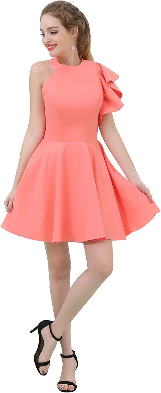 BessWedding Women's Short One Shoulder Prom Dress Asymmetric Satin Party Dress