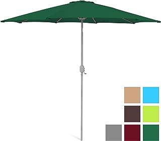 Best Choice Products 9ft Outdoor Water/UV-Resistant Market Patio Umbrella w/Crank Tilt Adjustment, 180G Polyester, Wind Vent, 1.5in Diameter Aluminum Pole - Green
