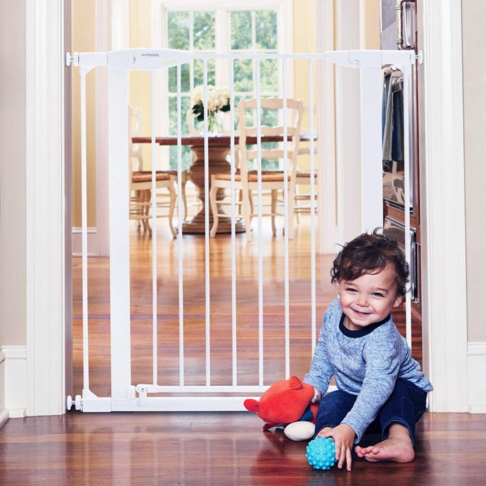 """Toddleroo by North States 37.5"""" Wide Tall Bright Choice Baby Gate: Heavy Duty Metal gate with Glow in The Dark Handle. Pressure Mount. Fits 29.75"""