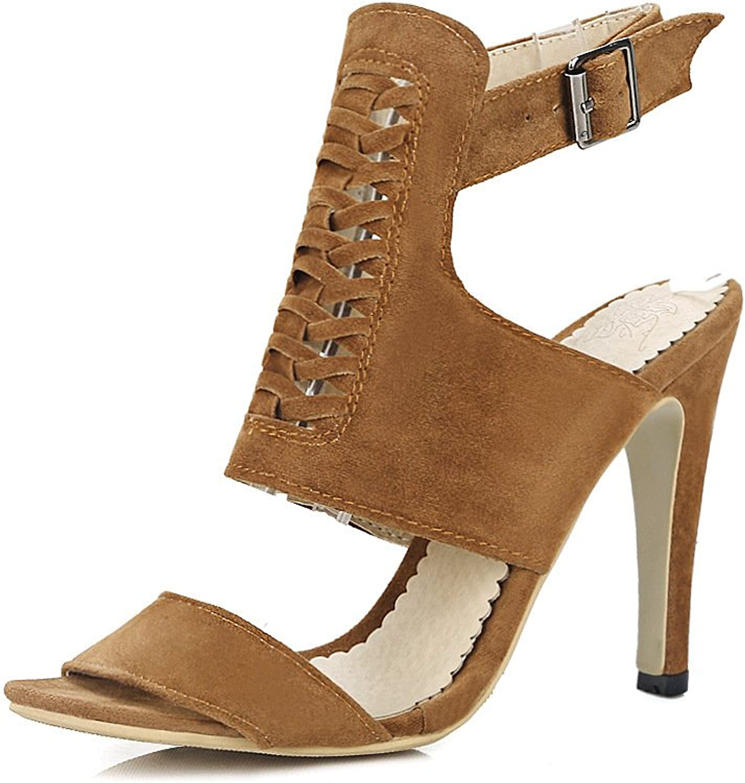 WHW Women's Spring Summer Comfort PU Dress Casual Flat Heel Sandals,Yellow,40