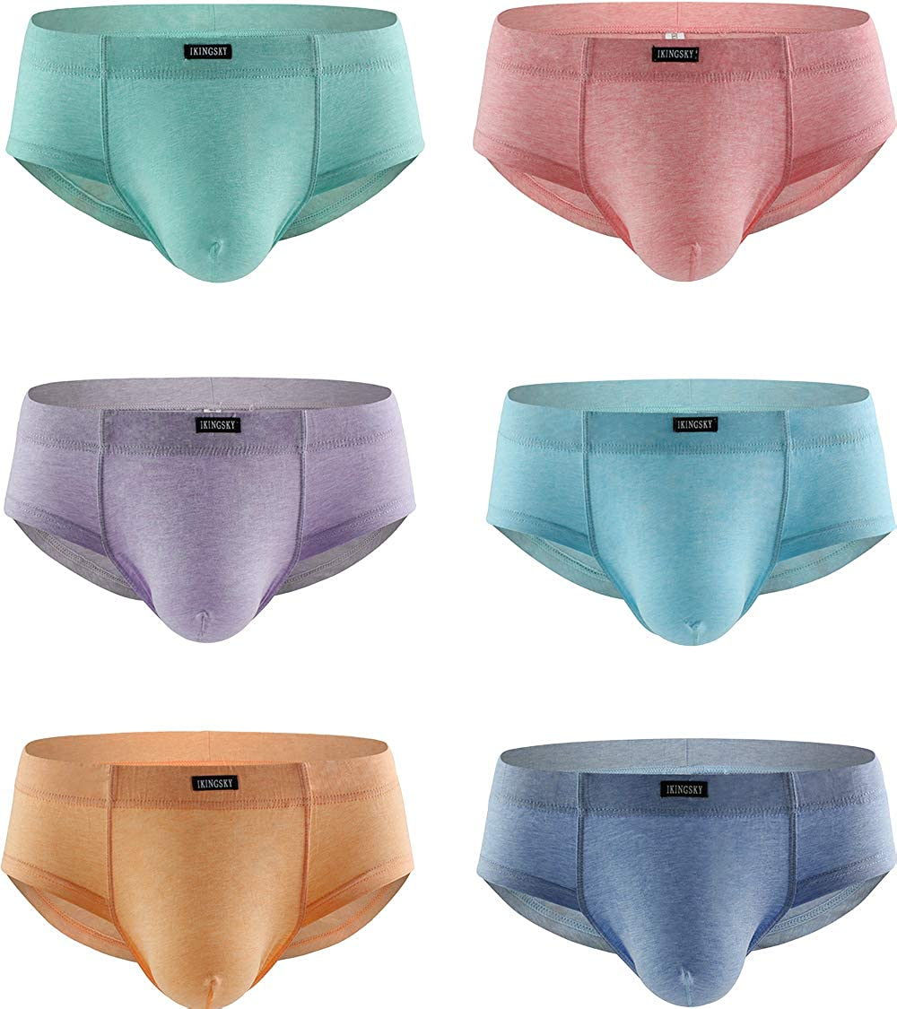 IKINGSKY Men's Cotton Big Pouch Briefs Sexy Bulge Bikini Underwear Sexy Stretch Mens Cheeky Under Panties