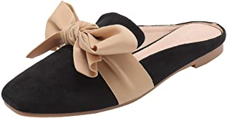 Womens Summer Cool Feel Casual Flats Slippers Ladies 2019 Hot Pointed Bow Cool Feel Beach Solid Soft Suede Sandals Shoes