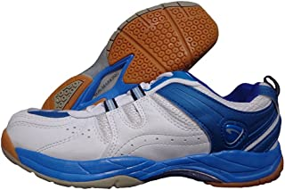 ProAse Unisex Embossed Synthetic Leather White Blue Badminton Shoes