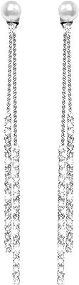 Fashion Long Tassel Crystal Pearl Due modi Usura Cubic Zirconia Ipoallergenico e Nichel Free Stud Drop Ciondola gli orecchini Gioielli per ragazze Donne, Chic Silver