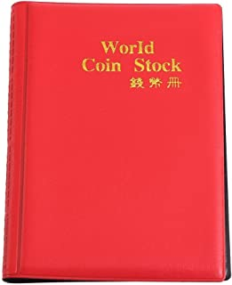 House of Quirk 120 Pockets Coin Holder Collection Coin Storage Album Book for Collectors, Money Penny Pocket - Red