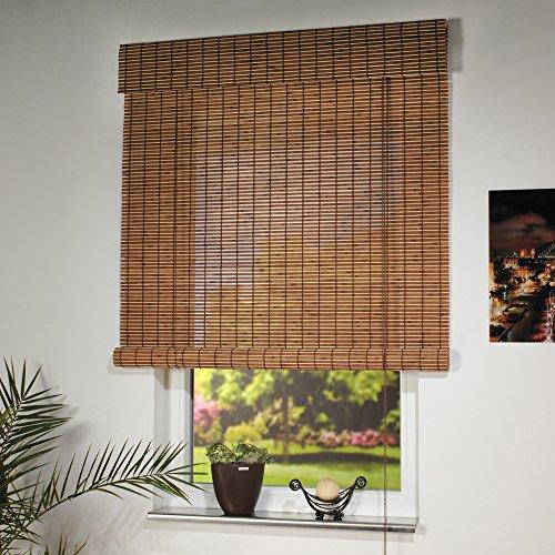 JalousieCrew Holzrollo Farbe braun Breite 80-160 cm Läng 170 cm Seitenzug Fenster Tür Rollos (120 x 170 cm)