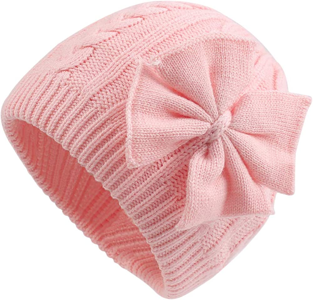 Baby Girl Winter Hat Cute Bow Baby Beanie Warm Knitted Hats for Infant Toddler Girls