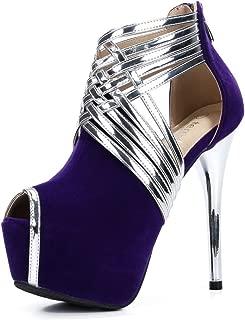 fereshte Women's Peep-Toe Platform Stiletto High Heels Dress Sandals
