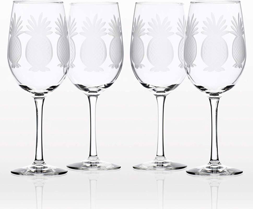 Rolf Glass Pineapple White Wine Glass Set Of 4 12 Oz Clear