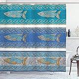 abby-shop Mosaik-Duschvorhang, Stil byzantinische Keramik inspiriert Maritime Fractal Fish Pattern Artwork, Schieferblau